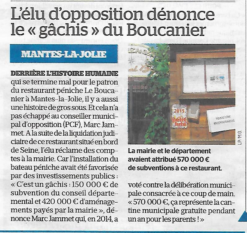 Le Parisien. L'élu d'opposition dénonce le gâchis du Boucanier