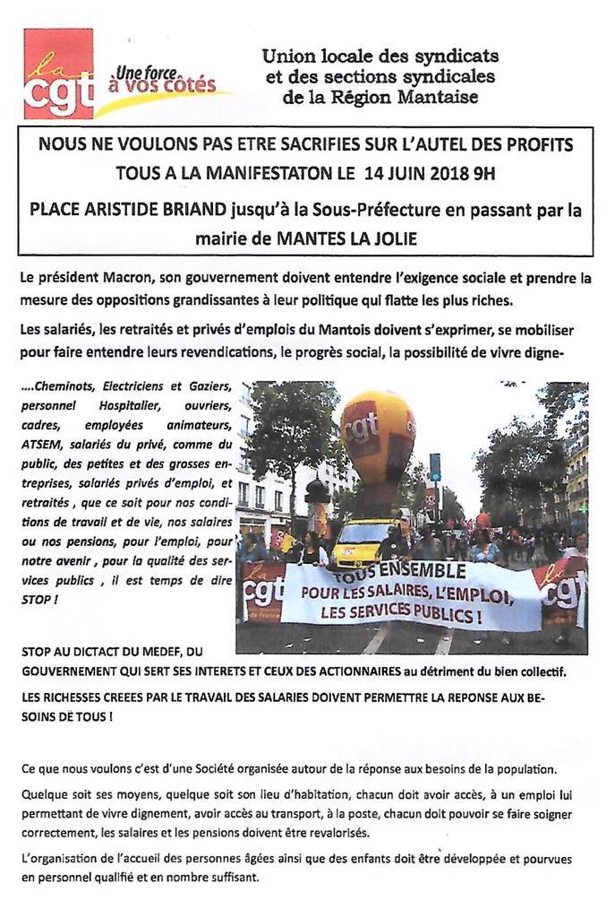 Jeudi 14 juin. Manifestation à Mantes-la-Jolie