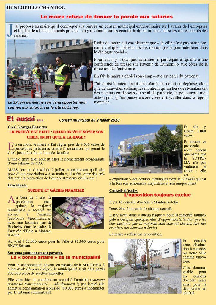 DUNLOPILLO-MANTES . Le maire refuse de donner la parole aux salariés