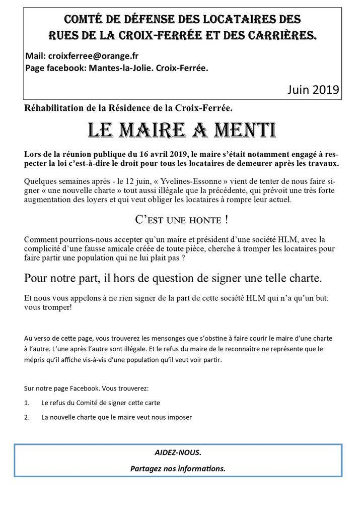 Réhabilitation de la Résidence de la Croix-Ferrée. Le Maire a mentI