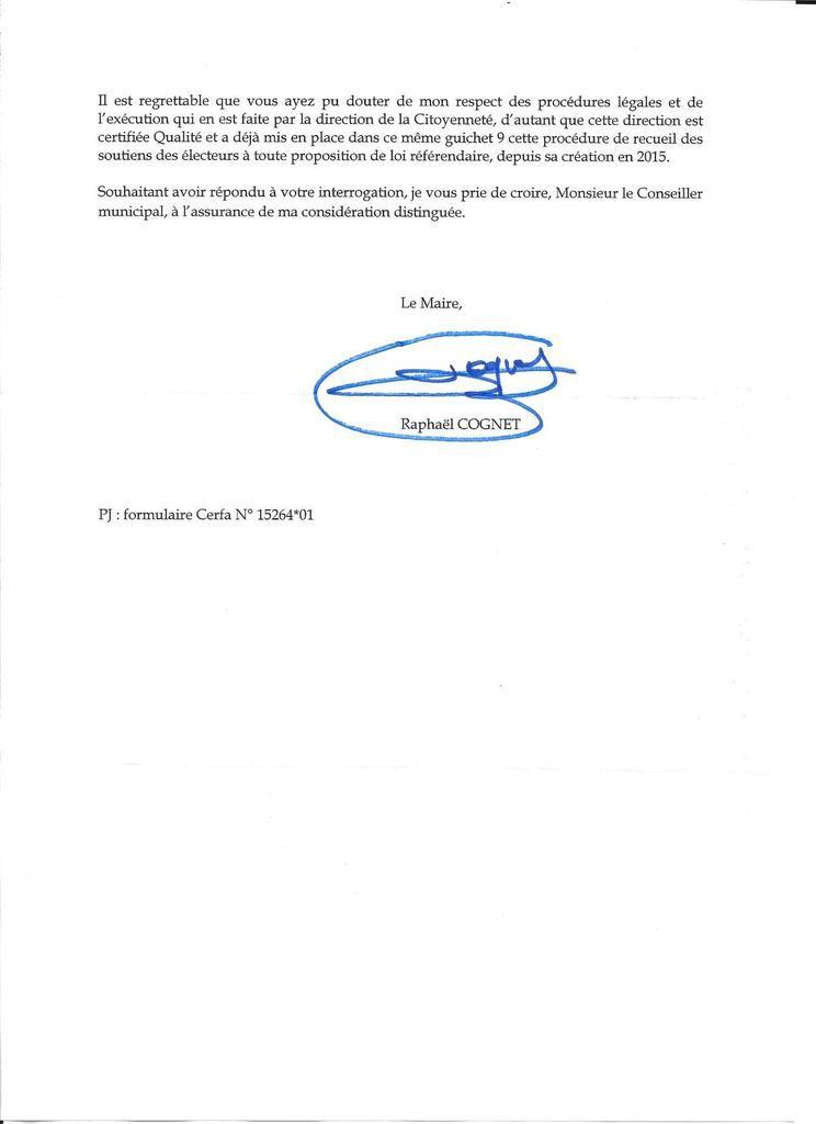 Référendum pour ou contre la privatisation des Aéroports de Paris. Réponse à mon courrier.