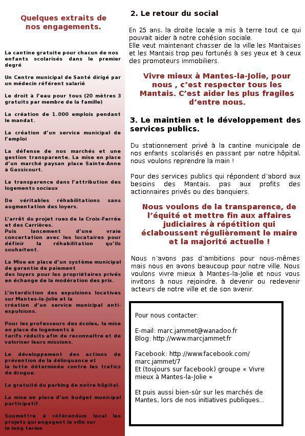 Election municipale. Mail envoyé à la presse locale par notre liste VIVRE MIEUX A MANTES-LA-JOLIE