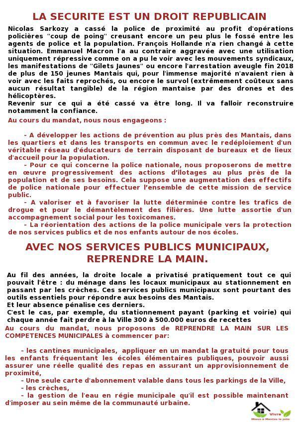 Mieux vivre à Mantes-la-Jolie. Sécurité. Services publics municipaux.