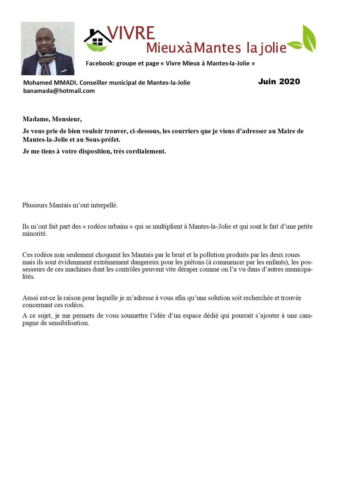 Rodéos à Mantes-la-Jolie. Mohamed M'MADI intervient auprès du Maire et du Sous-préfet