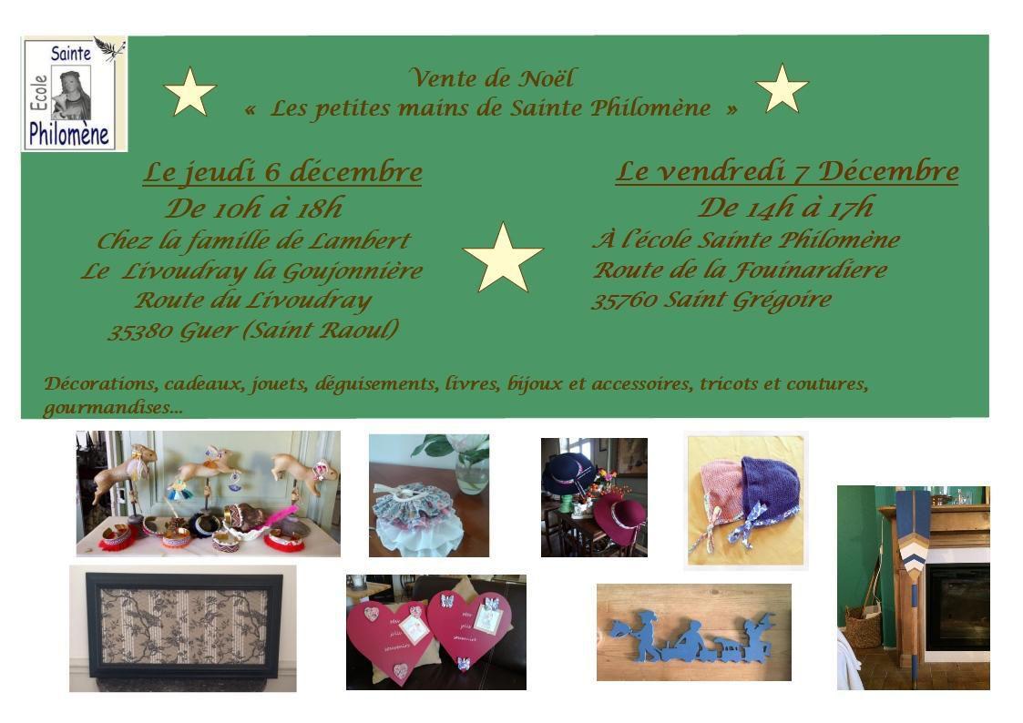 Nouvelle vente de Noël pour Sainte Philomène à Guer, jeudi 6 décembre et à l'école vendredi 7 décembre