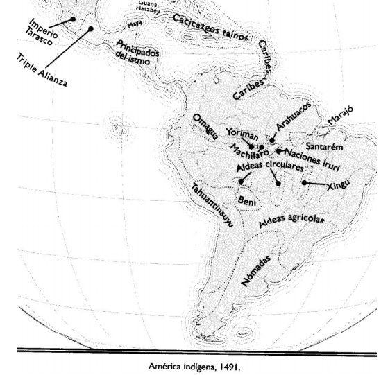 """Ilustración: Libro """"América indígena 1491 - Una nueva historia de las Américas antes de Colón"""" de Charles C. Mann"""