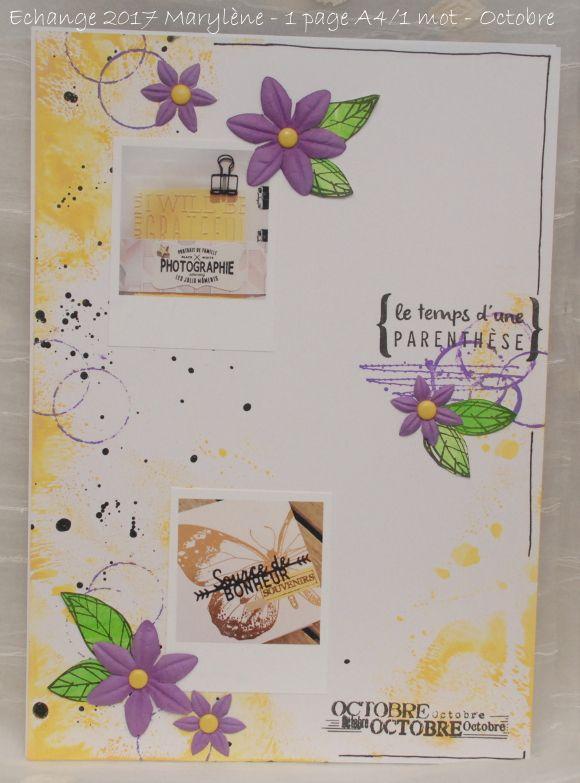 """Echange mensuel 2017 """"Une page A4 en un mot"""" - Octobre"""