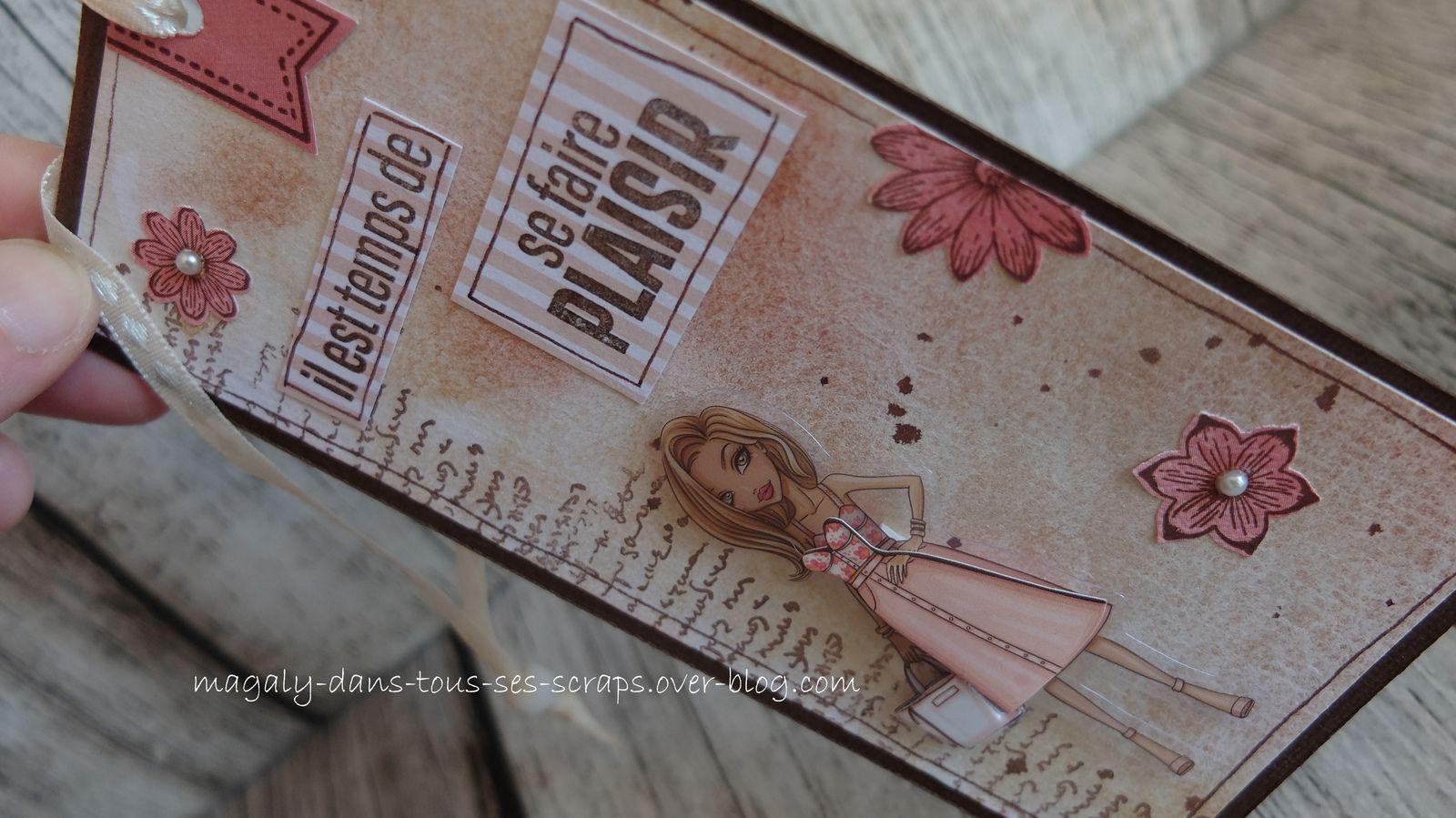 Série Marque-Pages/Tags {Demoiselles} marron-beige