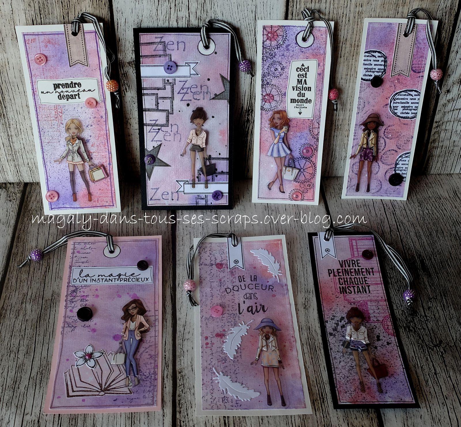 Série Marque-Pages/Tags {Demoiselles} violet-rose