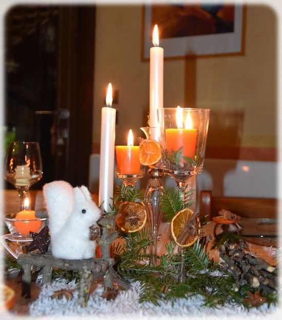 ma table du réveillon, l'orange des Noëls d'antan...