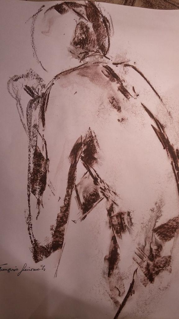 Graphite et eau sur feuille de dessin 50x70,10 mn