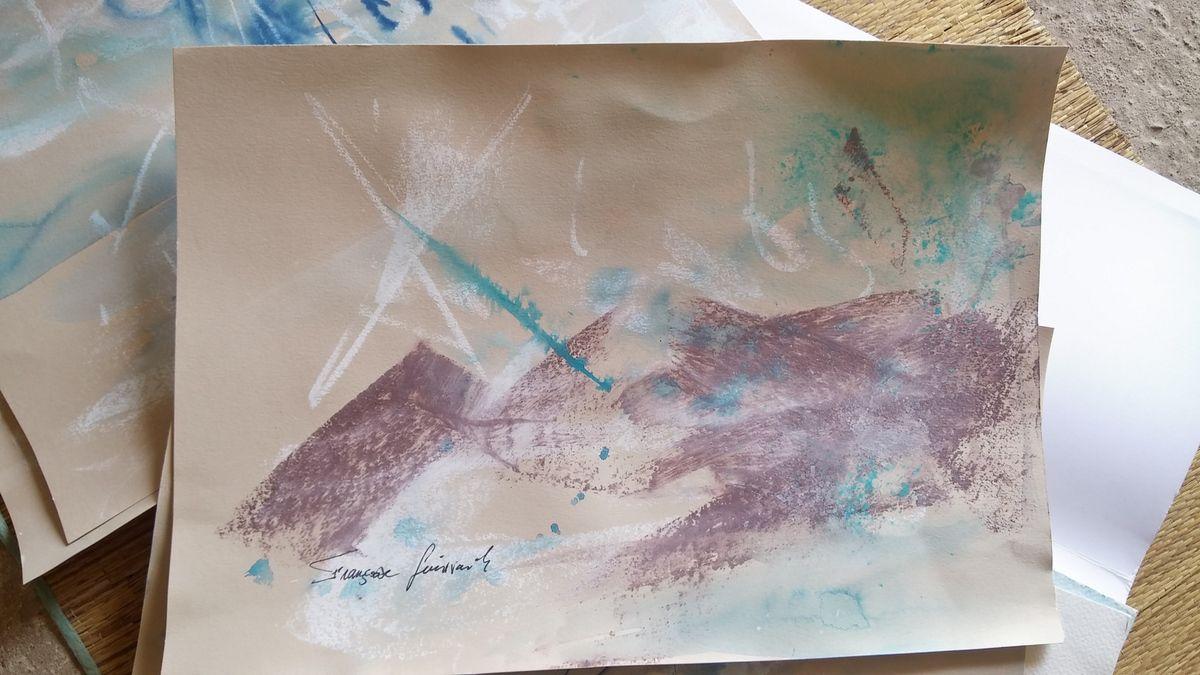 Aquarelles sur carnet A4, A3. marée basse à T, le véliplanchiste, les rochers de K , sous mon ciel plein d'étoiles, la mariée de K, ma maison BZH.