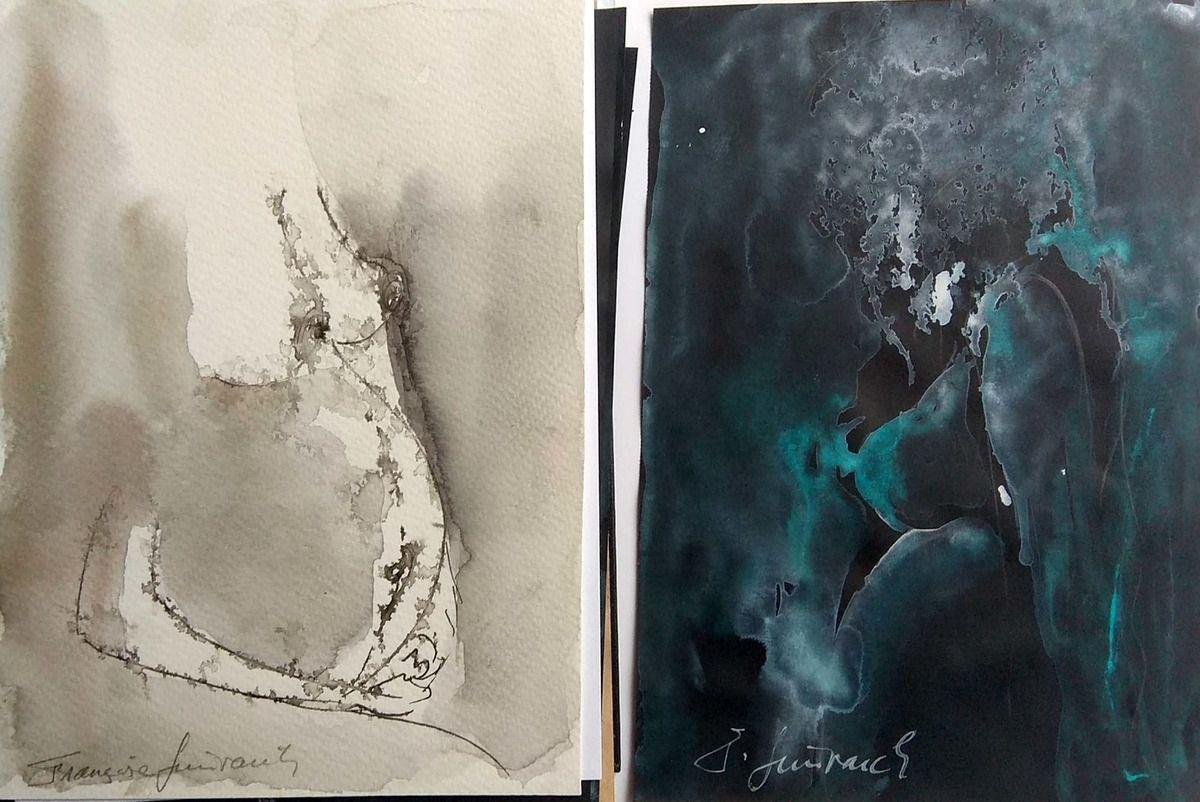 """Extrait de mon album """" Fleur de Blé Noir """" en cours. Aquarelles sur papier blanc ou noir."""