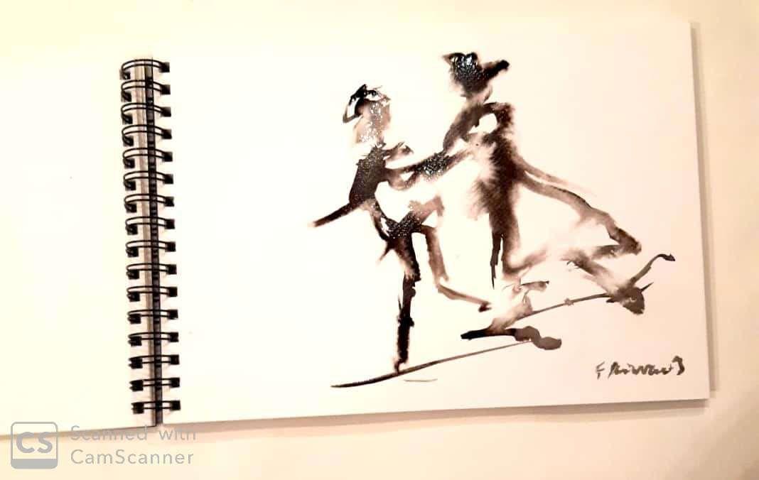 travail à l'encre de chine sur papier  aquarelle plus ou moins humide.
