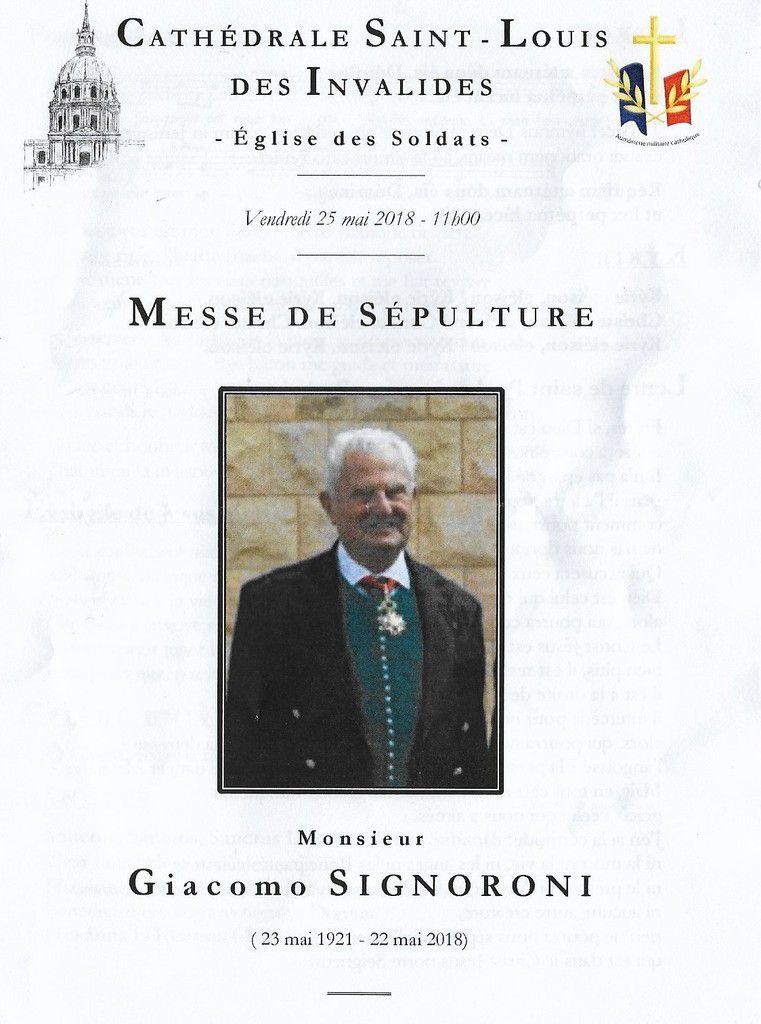 Eloge funèbre de Giacomo Signoroni, par le général de Saint-Chamas.