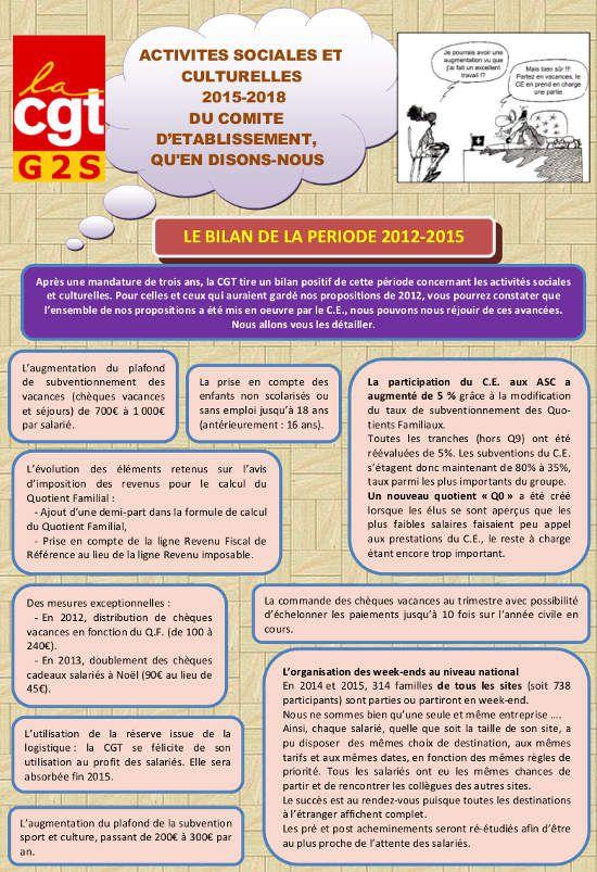 Tract CGT G2S - Activités sociales et culturelles du CE - Bilan de la période et propositions CGT mandature 2015-2018