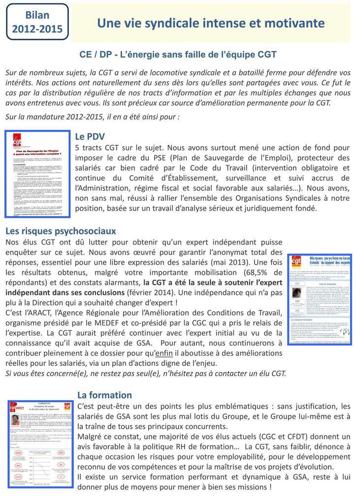 CGT GSA - Elections 2015 : rôle des instances, PDV , risques psychosociaux, effectifs, intéressement, salaires...
