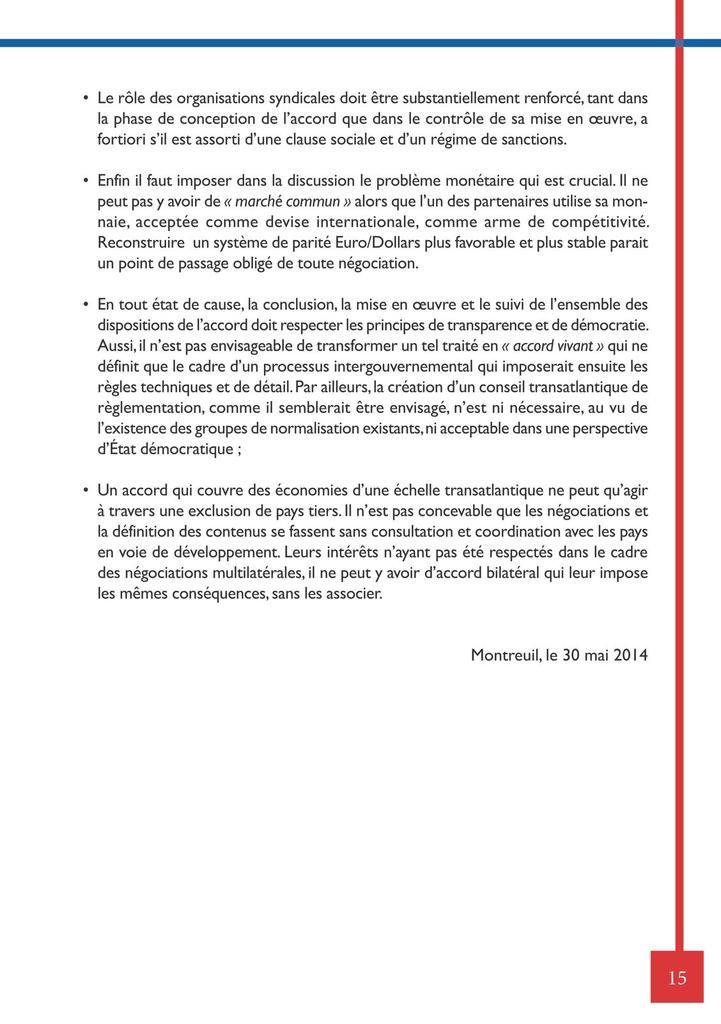 Document CGT traité TAFTA libre échange USA/UE