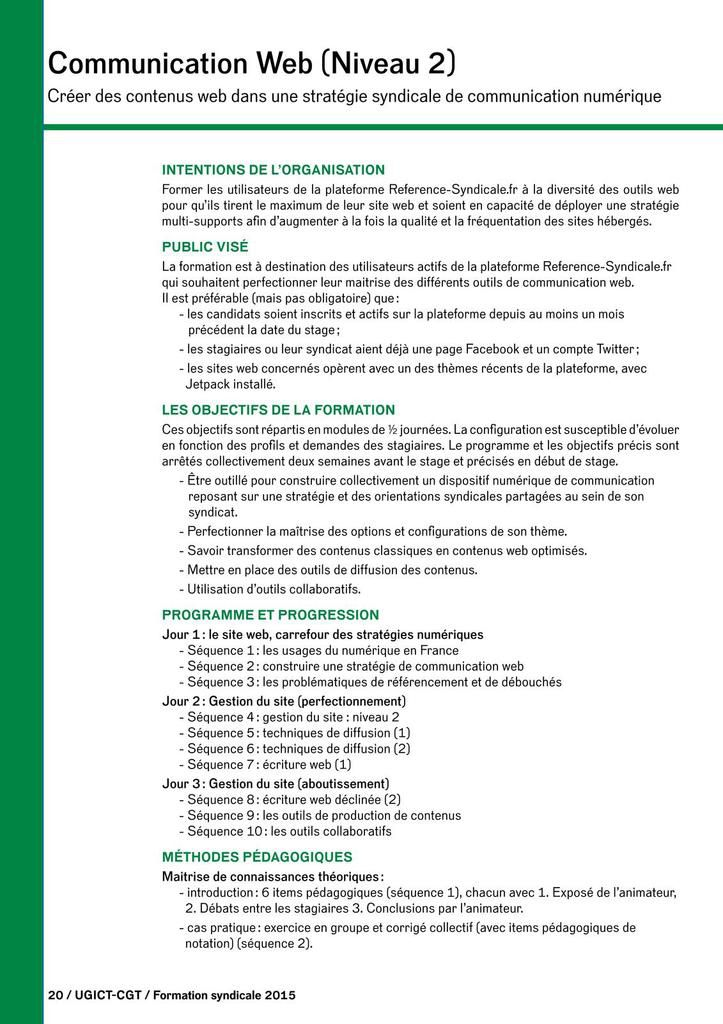 Formations syndicales UGICT-CGT 2015