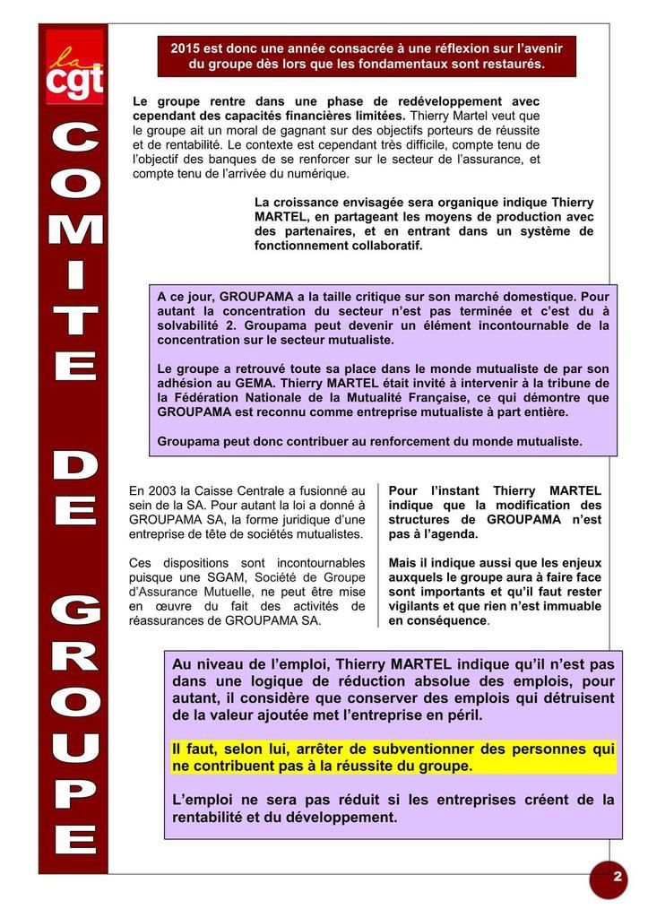 Comité groupe - Mandats dirigeants, vie groupe, solva 2, certificats mutualistes, effectifs, international...