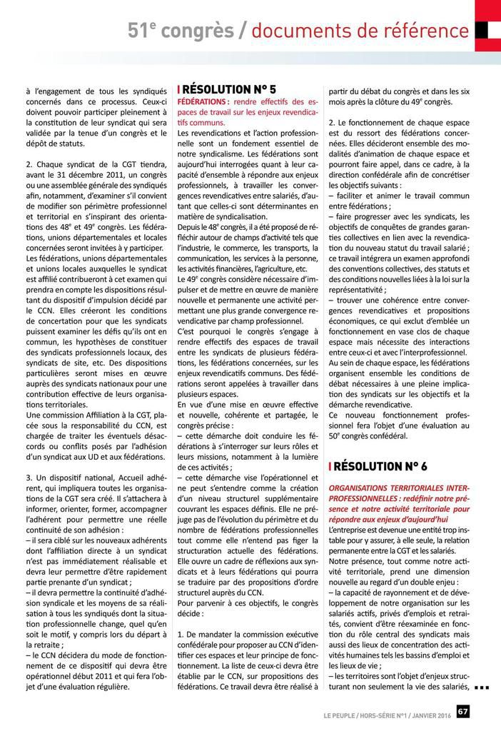 Documents N°1 du 51 ème congrès de la CGT 2016