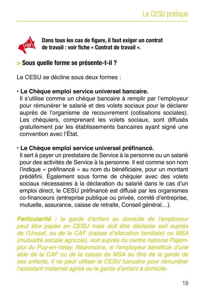 Guide CGT salariés du particulier employeur