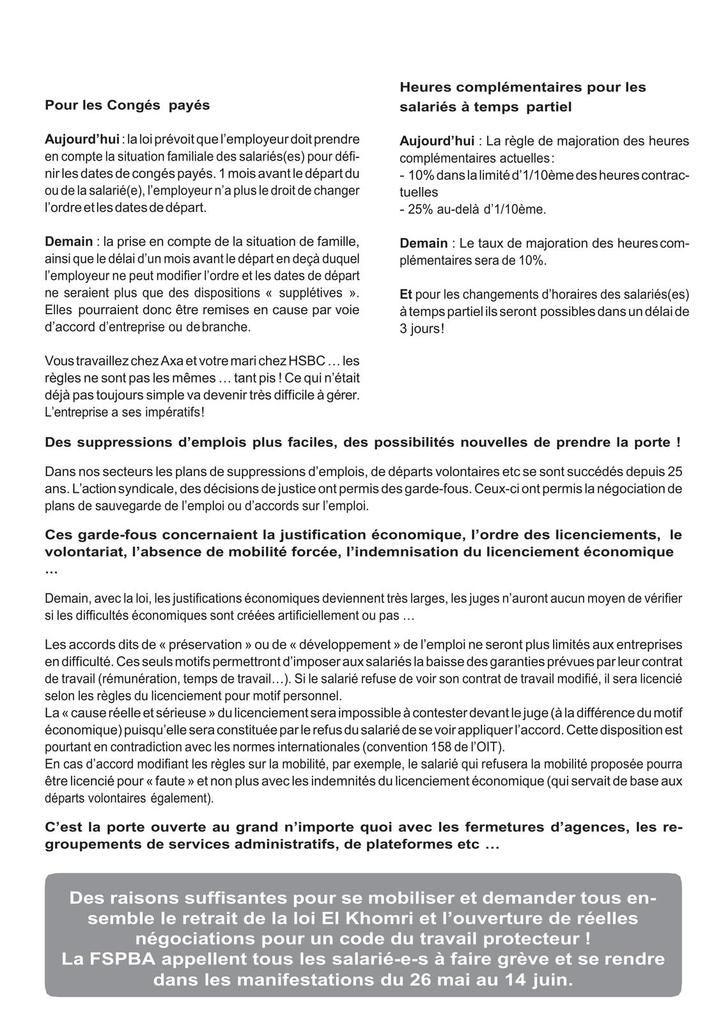 Loi travail - Le 26 mai, amplifions la mobilisation générale pour obtenir le retrait de cette loi !!