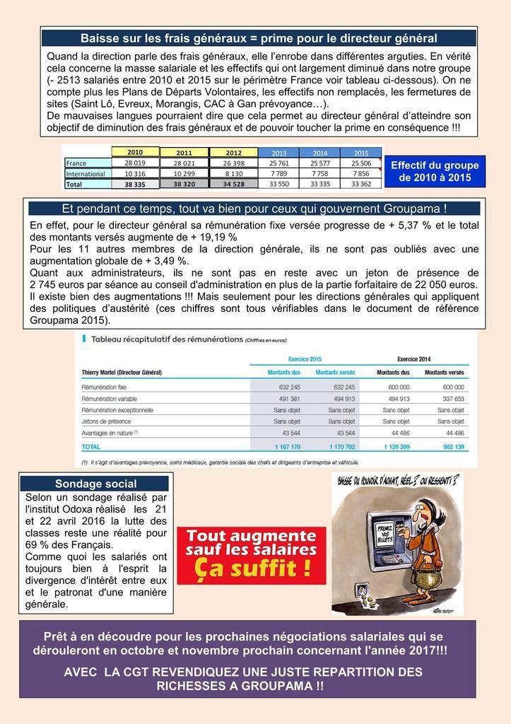 A Groupama, les augmentations de rémunération attribuées à la direction générale, pas aux salariés !!