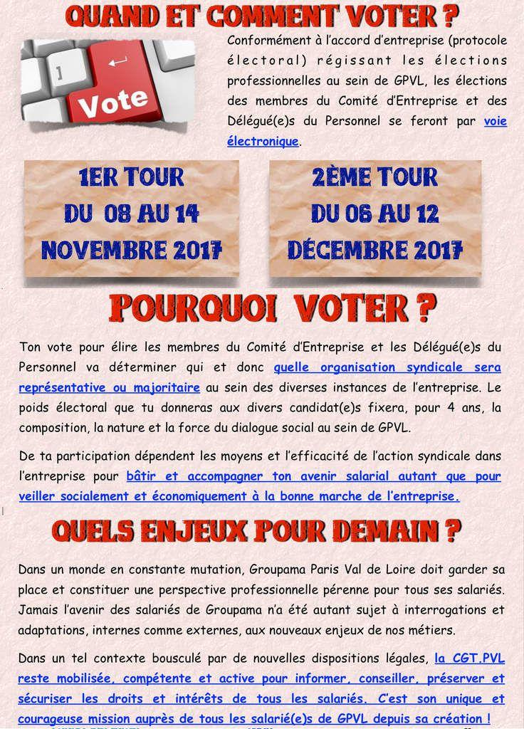 Elections Groupama Paris Val de Loire du 8 au 14 novembre 2017 - Voter et donner de la force à la CGT