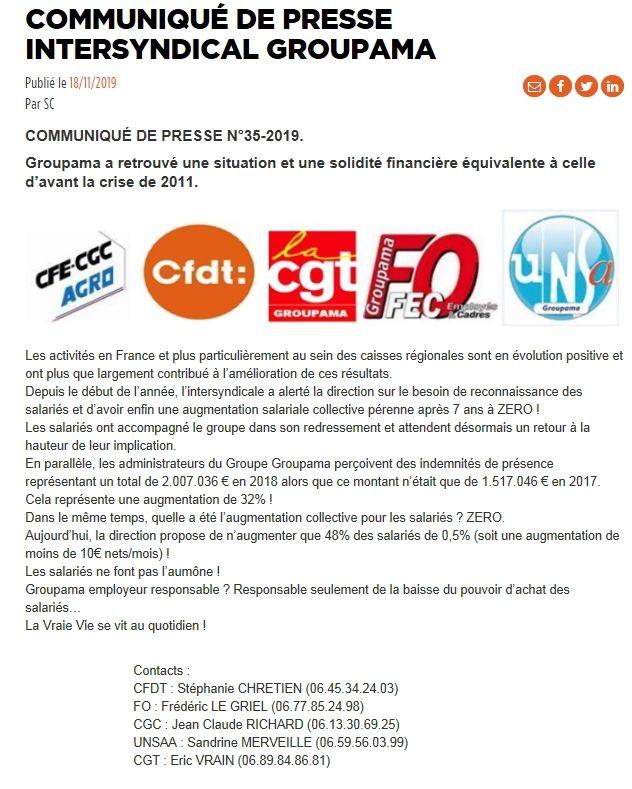 Communiqué de presse intersyndical Groupama