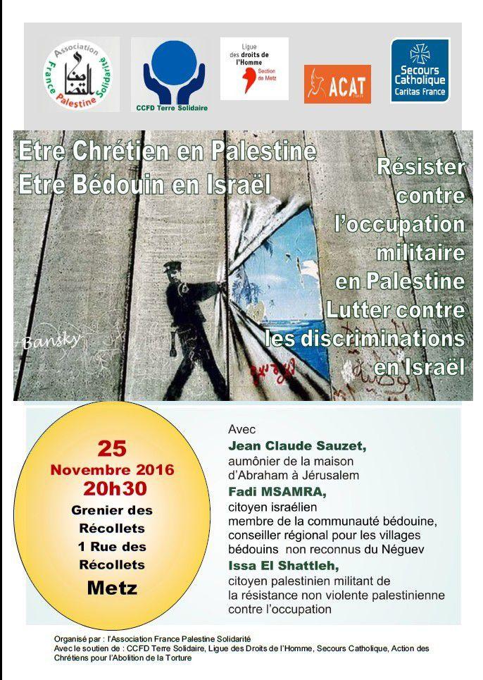 """""""Témoignages croisés de Palestine"""" en Lorraine les 20, 24 et 25 novembre 2016"""