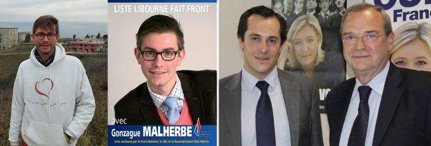 Candidats FN et membres de Civitas : à gauche, Gonzague Malherbe (parti en Syrie avec SOS Chrétiens d'Orient) et à droite, Jean-Louis Robin en compagnie de Nicolas Bay.