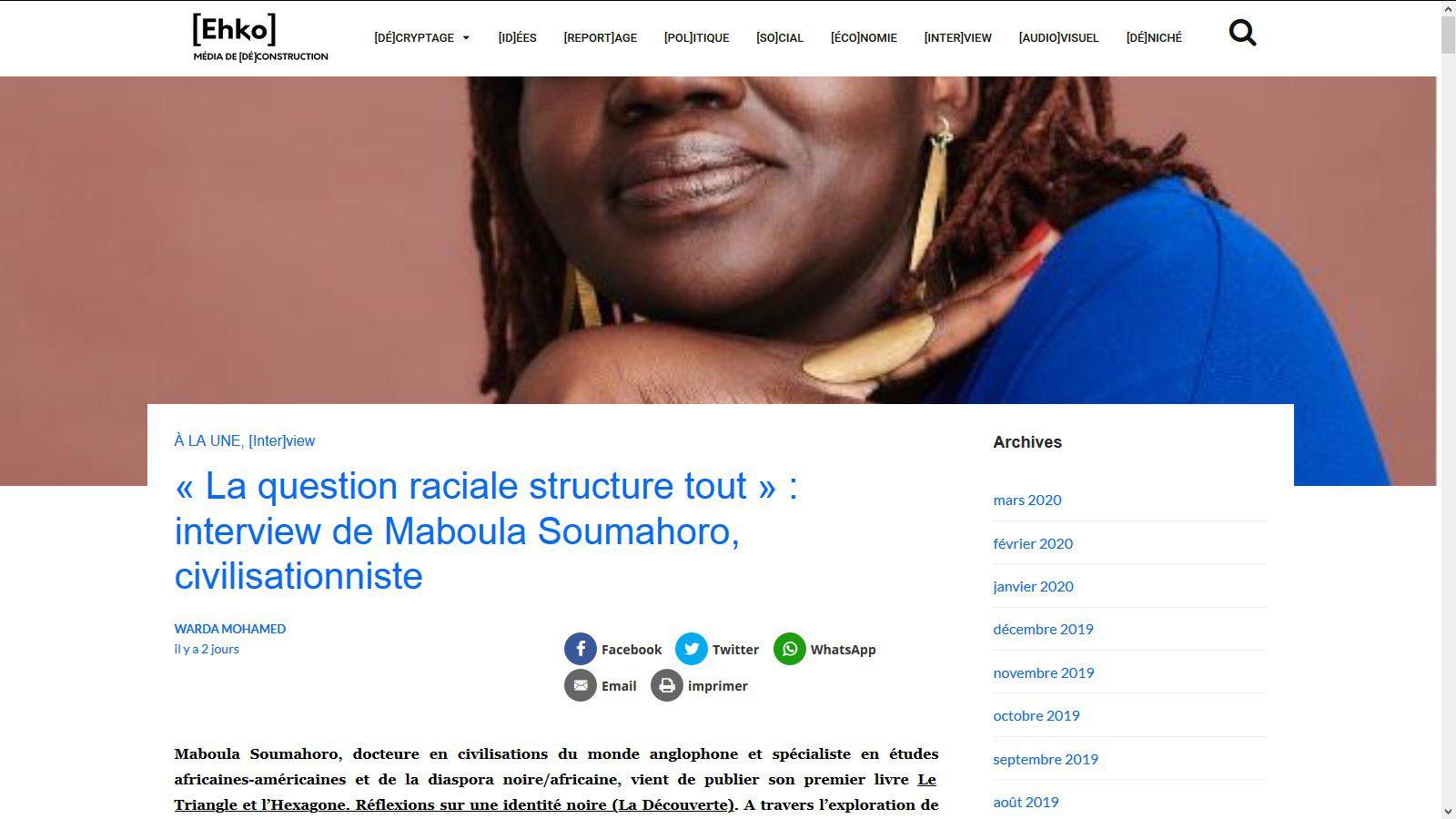 La question raciale structure tout (Maboula Souhamoro)