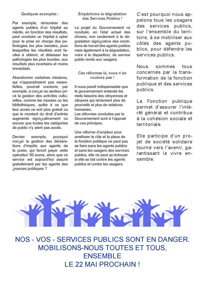 Lettre ouverte aux usagers  Notre Fonction publique est en danger :  défendons-la le 22 mai !