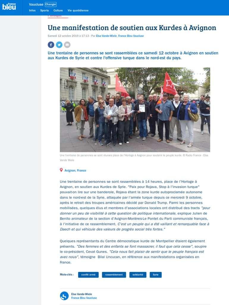 Solidarité avec le peuple Kurde et la population du Rojava