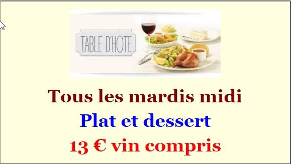 TABLE D'HOTES MARDI 30 MAI 2017