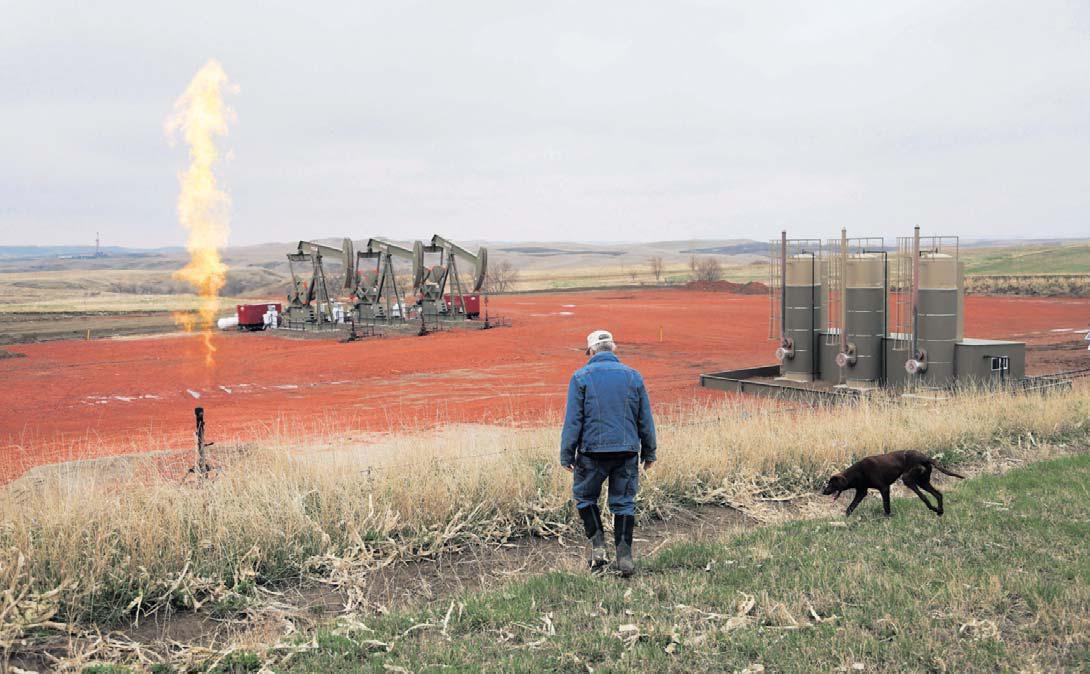 Émission d'hydrocarbures à Watford City (Dakota du Nord), aux États-Unis. Jim Wilson/The New York Times-Redux-Réa