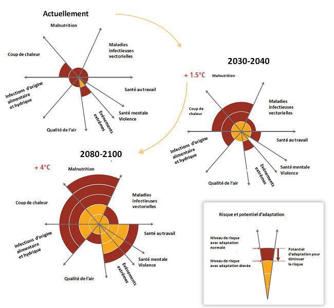 Figure 1. Modélisation des effets sur la santé humaine, liés à la température : augmentations de températures (+1,5°C et +4°C) sur différentes périodes de temps. Les données semi-quantitatives sont exprimées en unités arbitraires. Les potentiels d'adaptation face à ces risques sont bien décrits dans les références [2] & [4]. [source: Smith KR et al. (2014)]