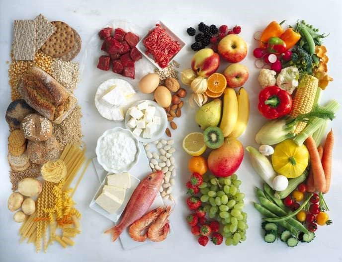 Les quatre familles d'aliments : sucres lents, protéines, fruits et légumes. MAXIMILIAN STOCK LTD / PHOTONONSTOP