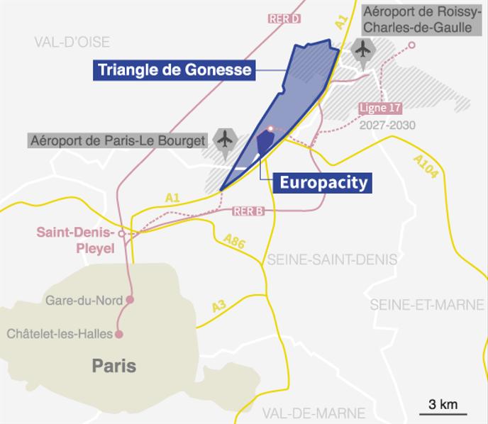 Le site d'EuropaCity était envisagé dans le « triangle de Gonesse », au nord de Paris. INFOGRAPHIE « LE MONDE »