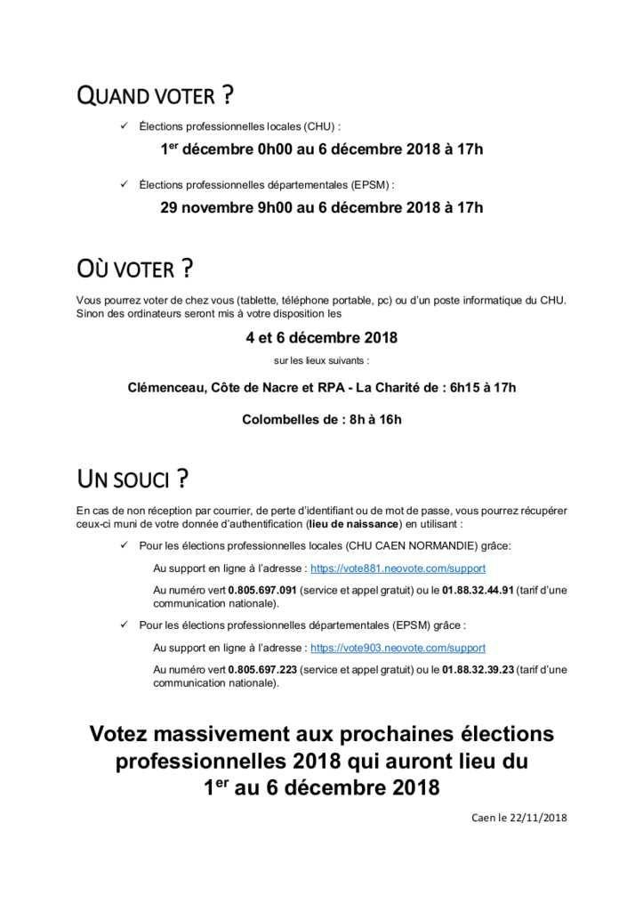 Information éléctions professionnelles 2018