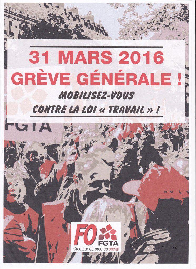 Appel du secrétaire de la FGTA FO à la mobilisation générale le 31 Mars 2016