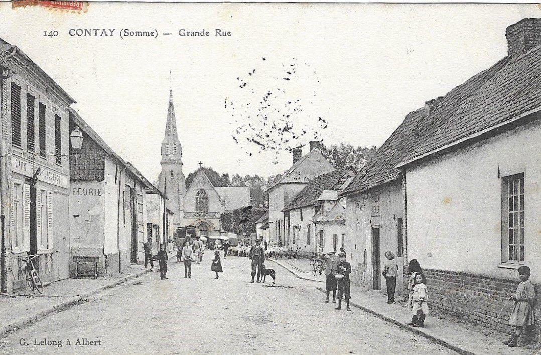 Contay. La Grande Rue. Carte postale ancienne. © G. Lelong.