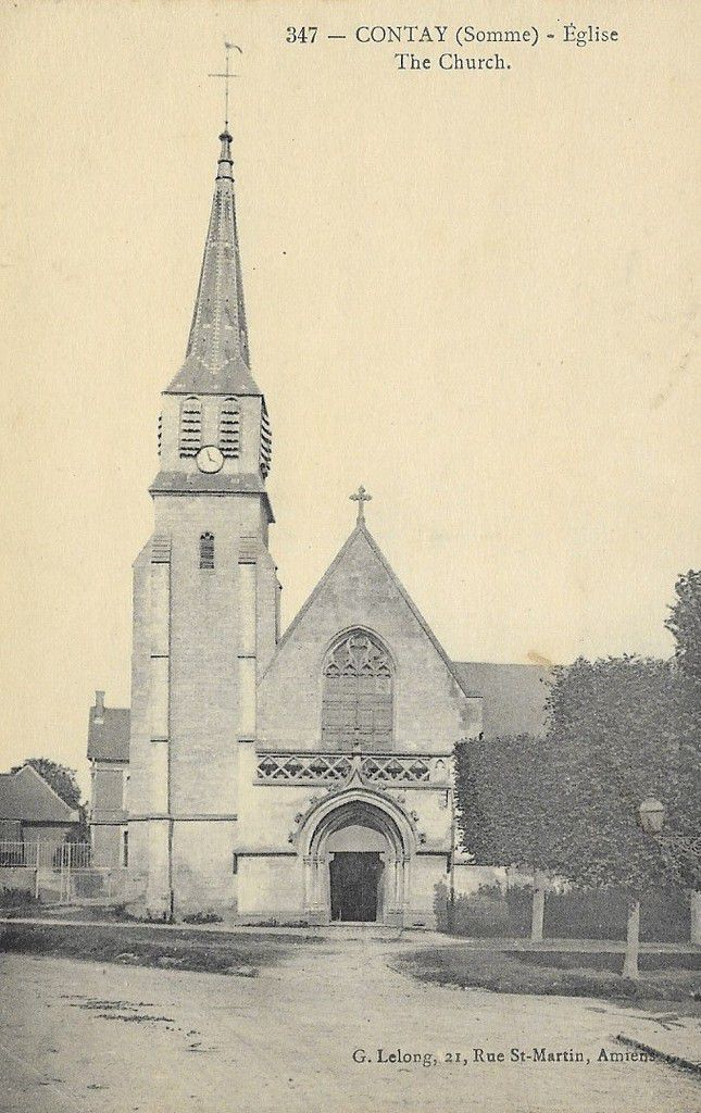 Contay. L'Eglise. Carte postale ancienne. © G. Lelong.