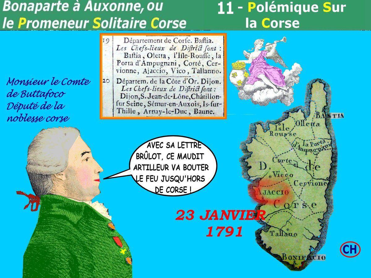 Bonaparte à Auxonne, PSC n°11 Polémique Sur la Corse