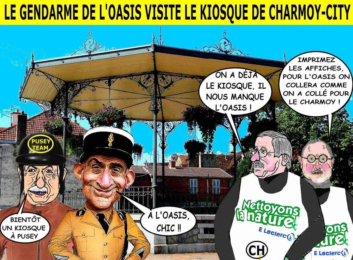 Le gendarme de l'Oasis visite le kiosque de Charmoy-City