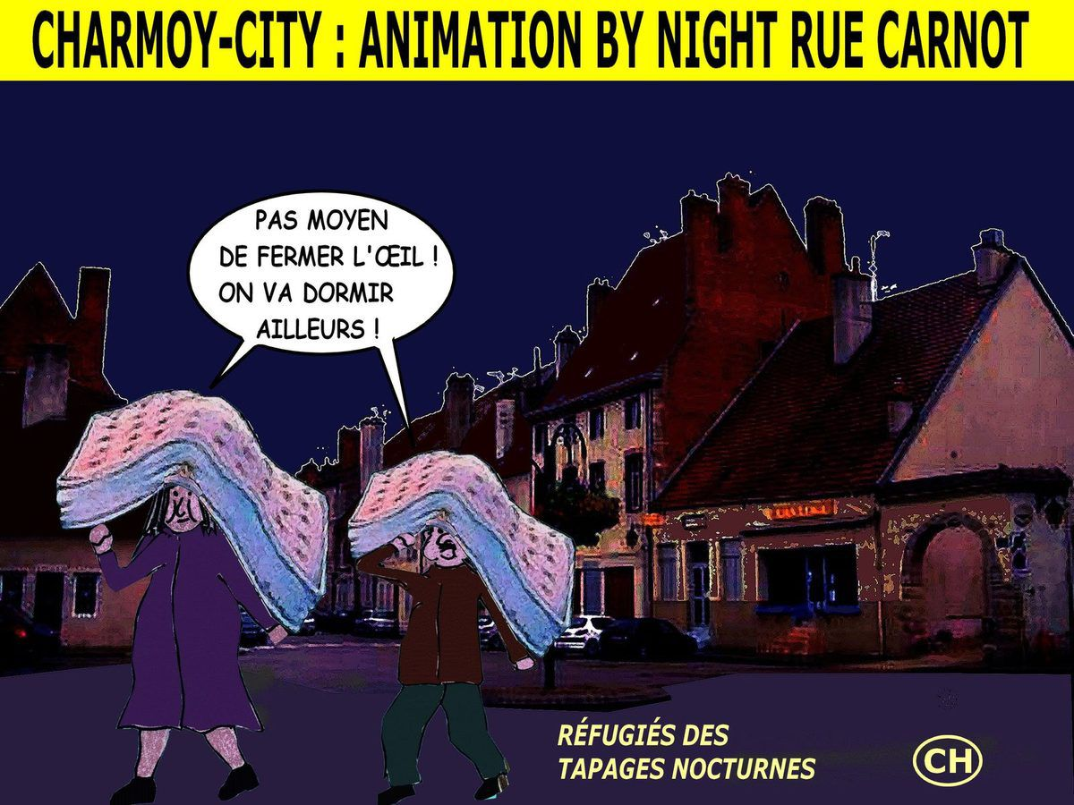 Charmoy-City : animation by night rue Carnot