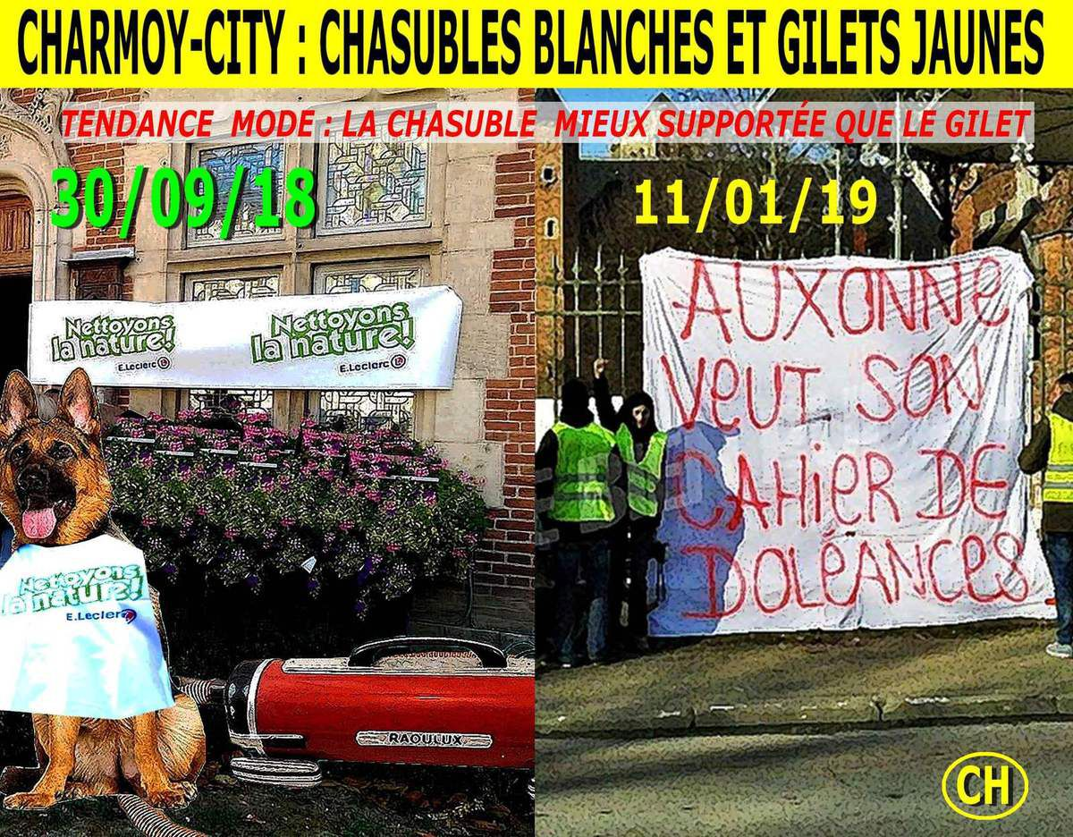 Charmoy-City,Chasubles blanches ert gilets jaunes