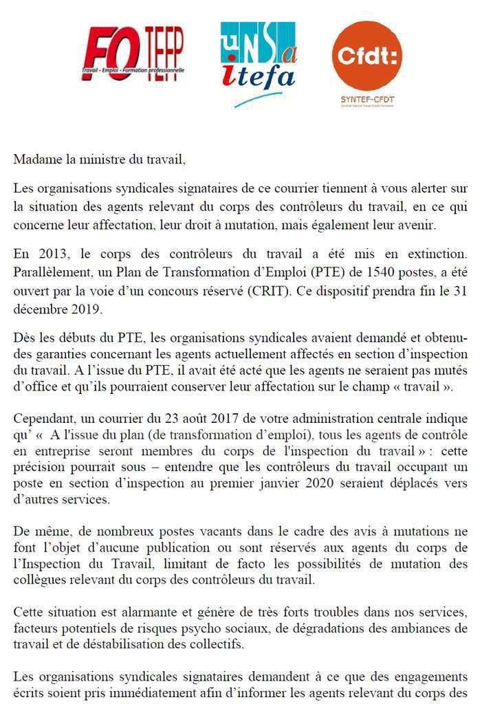 SYNTEF-CFDT - Lettre ouverte à la Ministre en faveur des Contrôleurs du Travail