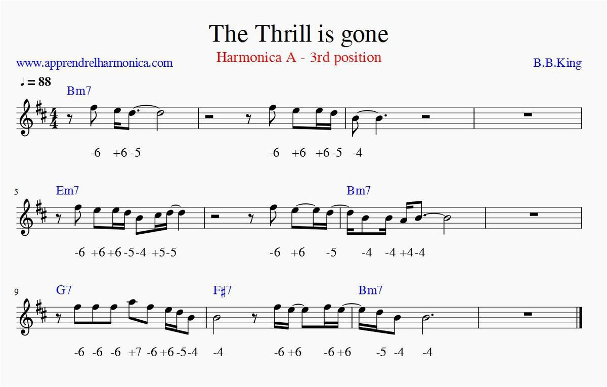 The Thrill is Gone - BB King - Bmin - 3rd pos - Harmonica A